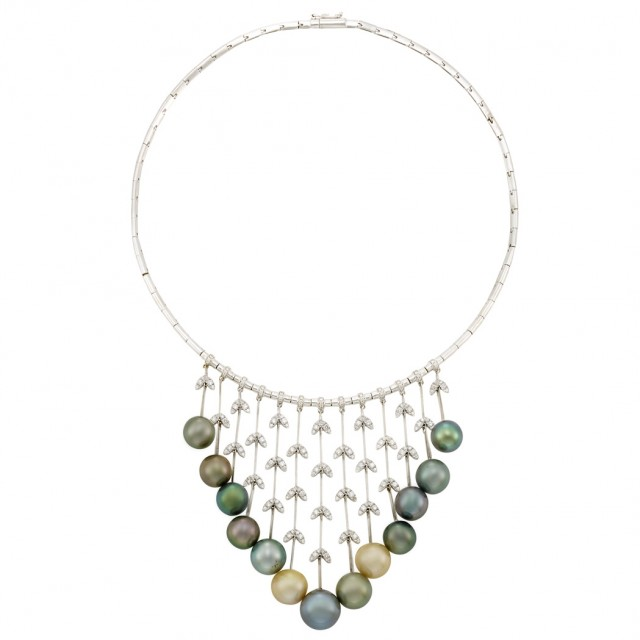 White Gold, Tahitian Gray and Light Golden Cultured Pearl and Diamond Necklace