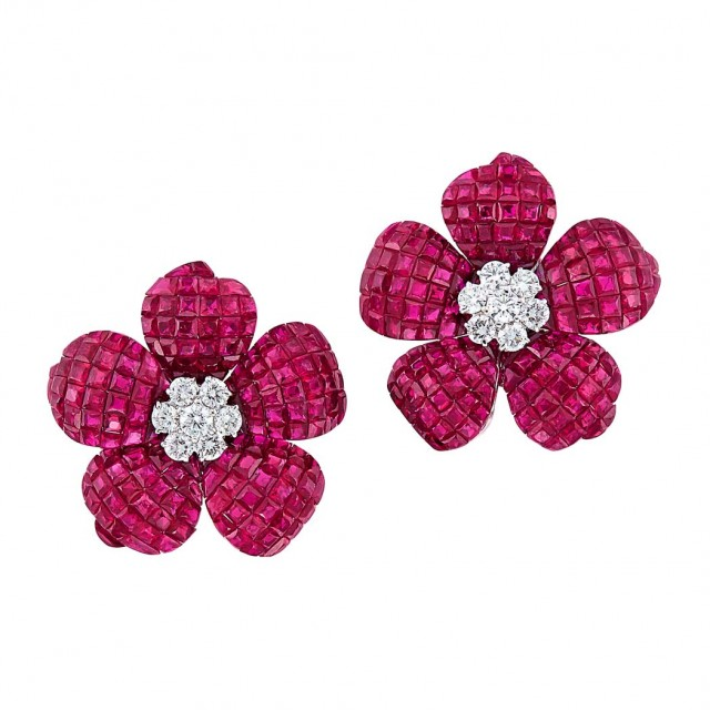 Pair of White Gold, Invisibly-Set Ruby and Diamond Flower Earrings