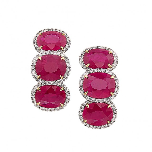 Pair of White Gold, Ruby and Diamond Earclips, Piranesi