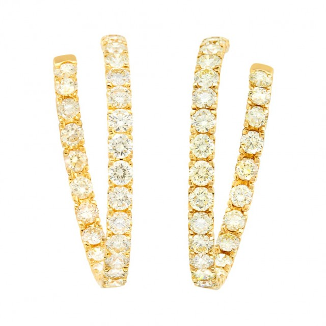 Pair of Gold and Light Yellow Diamond Hoop Earrings