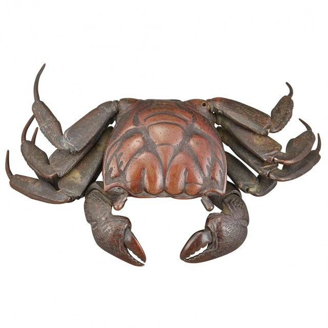 Japanese Bronze Articulated Model of a Crab for Sale at Auction on