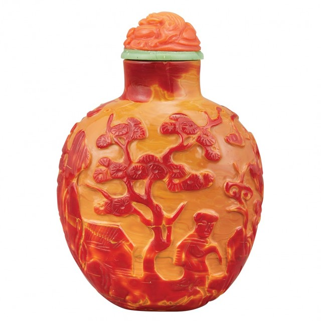 Chinese Imitation Realgar Glass Snuff Bottle