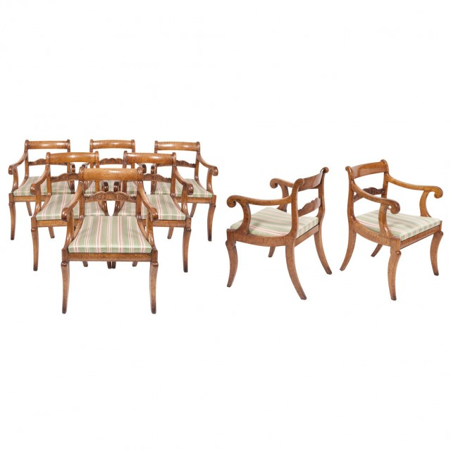 Set of Eight Classical Maple Armchairs