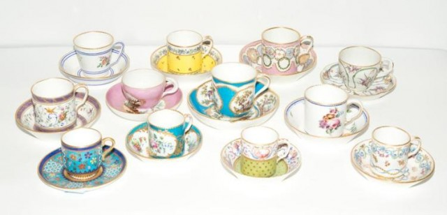 Group of Sevres Style and Other Porcelain Coffee Cups and Saucers