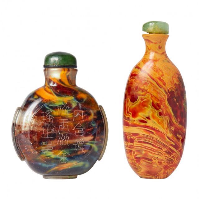 Two Chinese Imitation 'Realgar' Glass Snuff Bottles