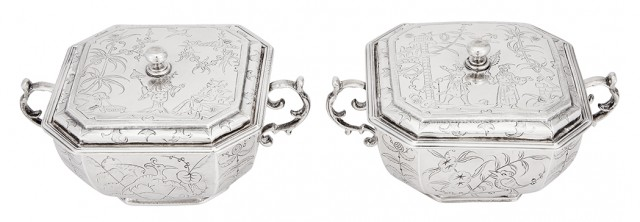 Pair of Charles II Sterling Silver Covered Bowls