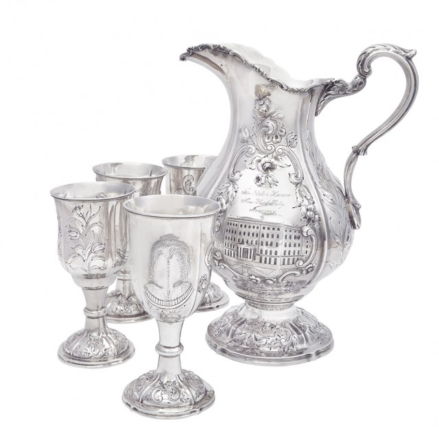 American Silver Five-Piece Water Set of New York City Interest