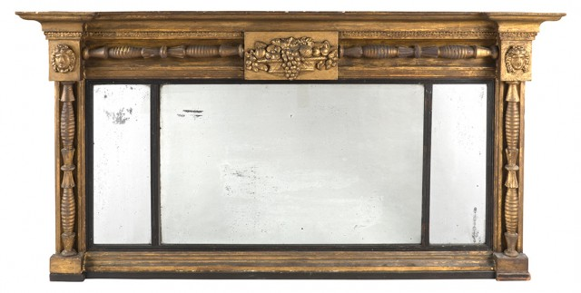 Regency Giltwood and Part Ebonized Overmantel Mirror