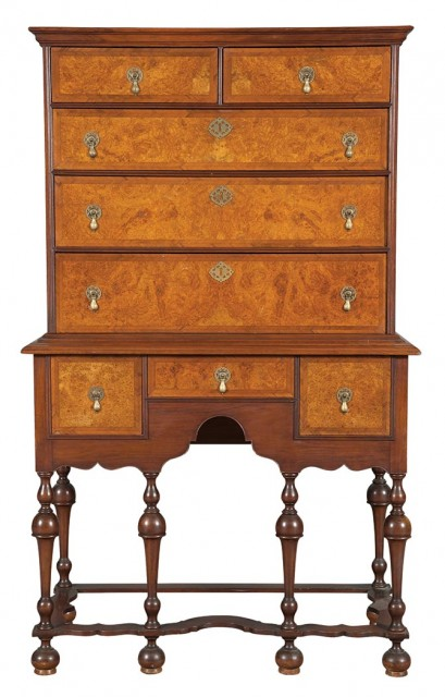 William and Mary Style Walnut and Burl Walnut High Chest