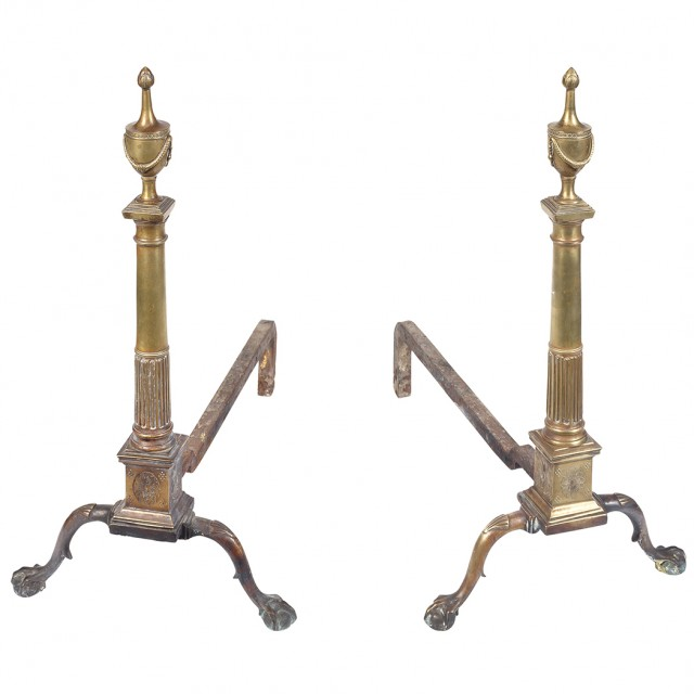 Pair of Chippendale Style Brass Andirons