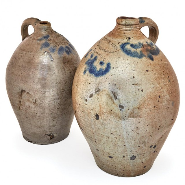 Two Cobalt Decorated Salt Glazed Stoneware Jugs
