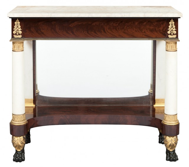 Classical Gilt-Bronze Mounted Mahogany and Marble Pier Table
