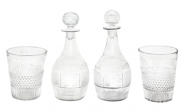 Pair of Sandwich Type Molded Glass Decanters