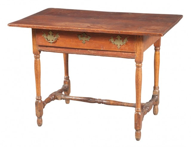 William and Mary Pine and Maple Tavern Table