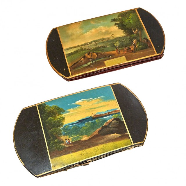 Two Painted Papier Mâché Cigarette Sleeves