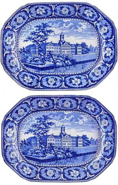 Two Staffordshire Historical Blue Pottery Alms House New York