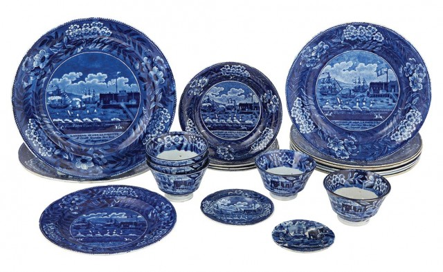 Group of Staffordshire Historical Blue Pottery Landing of Lafayette