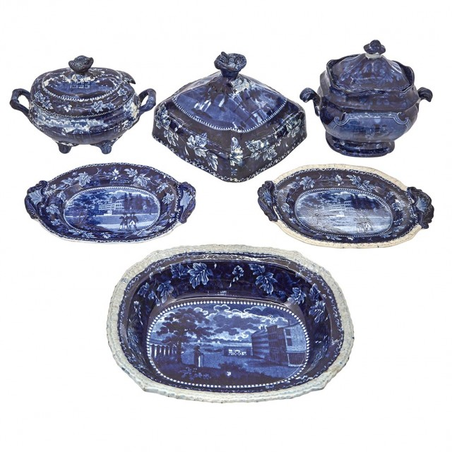 Group of Staffordshire Historical Blue Pottery Articles