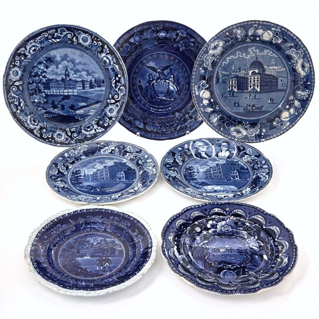 Group of Staffordshire Historical Blue Pottery Plates