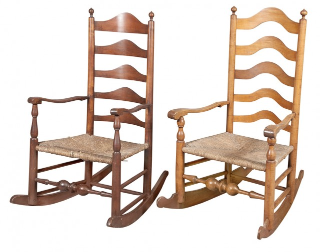 Two Slat-Back Rush Seat Rocking Chairs  D>  Pennsylvania, 19th century  Height of one 44 inches, width 25 inches, seat depth 17 inches.