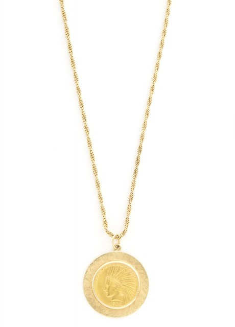 Gold and Gold-Coin Pendant with Long Chain