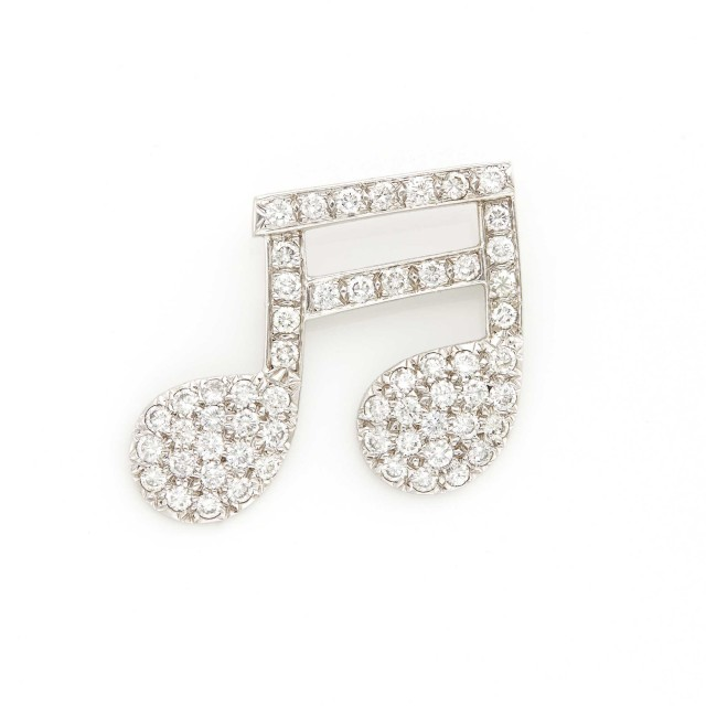 White Gold and Diamond Music Note Brooch
