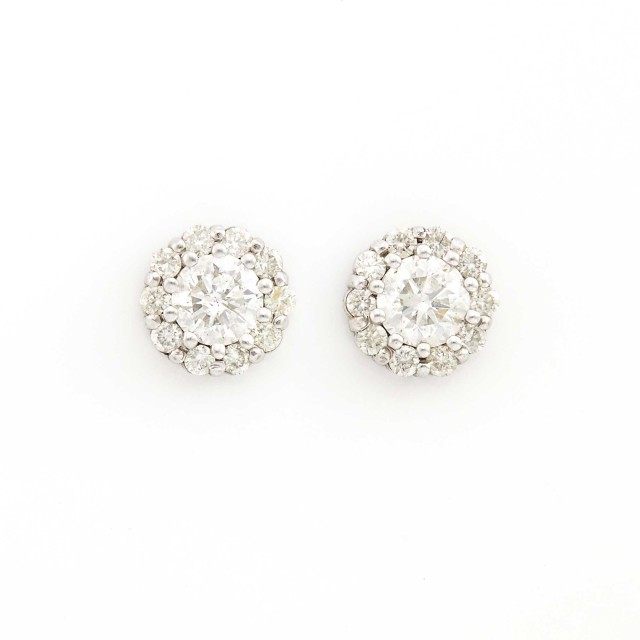 Pair of Platinum and Diamond Cluster Earrings