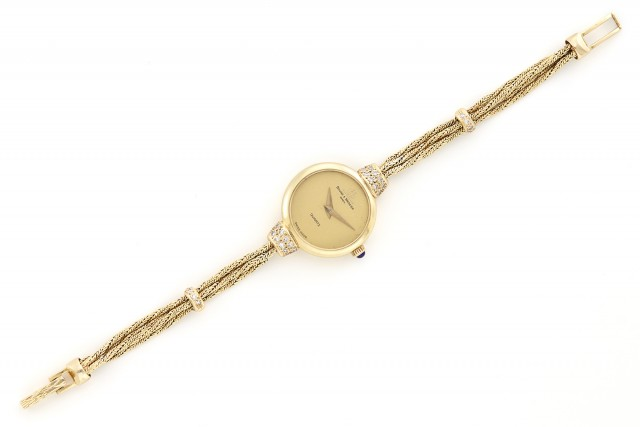 Lady\'s Gold and Diamond Bracelet-Watch, Baume and Mercier