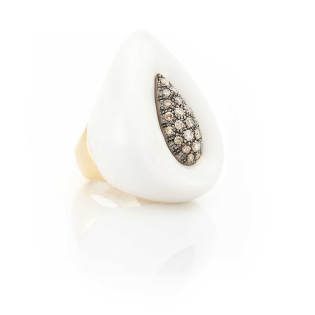 White Agate, Rose Gold and Brown Diamond Ring