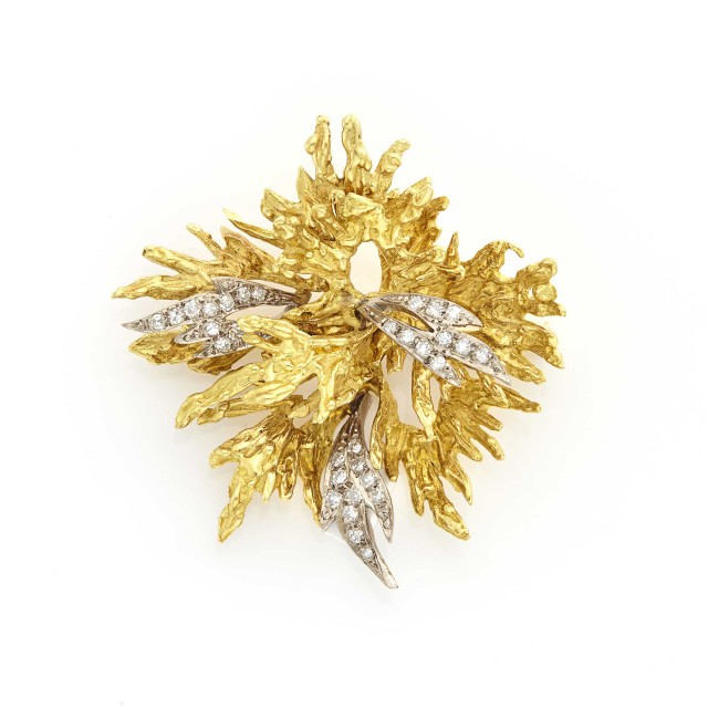 Gold and Diamond Leaf Brooch