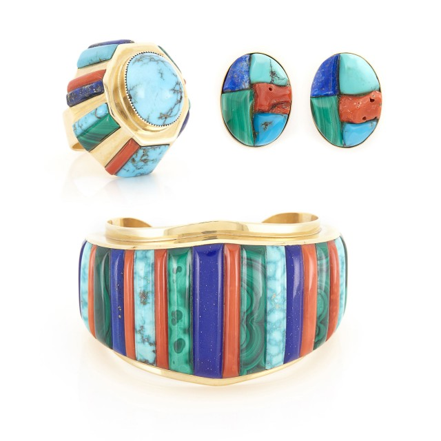 Gold, Turquoise, Coral, Lapis and Malachite Cuff Bangle Bracelet, Pair of Earrings and Ring