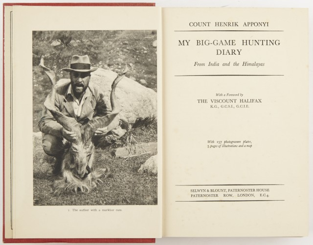 APPONYI, COUNT HENRIK  My Big-Game Hunting Diary. From India and the Himalayas.