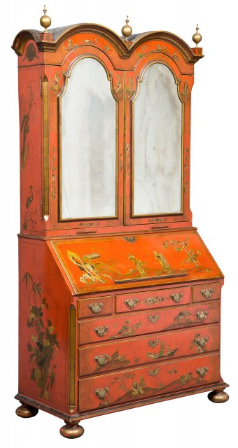 George I Style Red Lacquer and Parcel-Gilt Bureau Cabinet