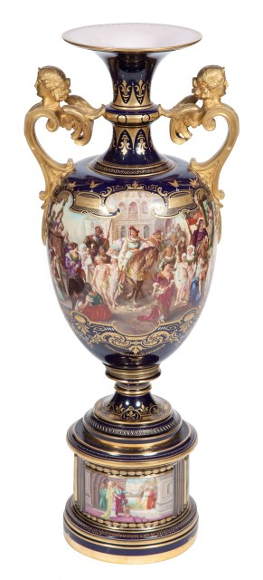 Vienna Style Gilt and Hand-Painted Cobalt Ground Porcelain Two-Handled Urn on Pedestal