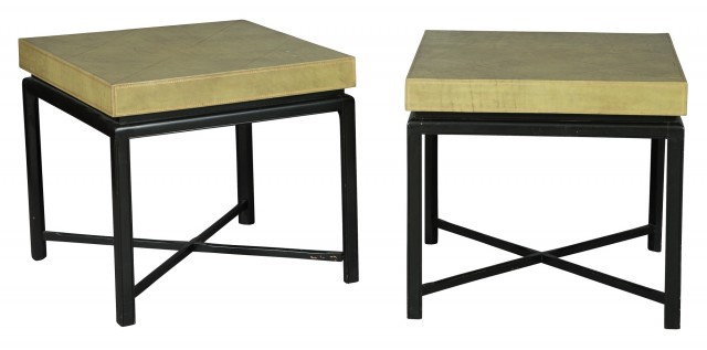 Pair of Gilt-Tooled Green Leather and Black-Painted Occasional Tables