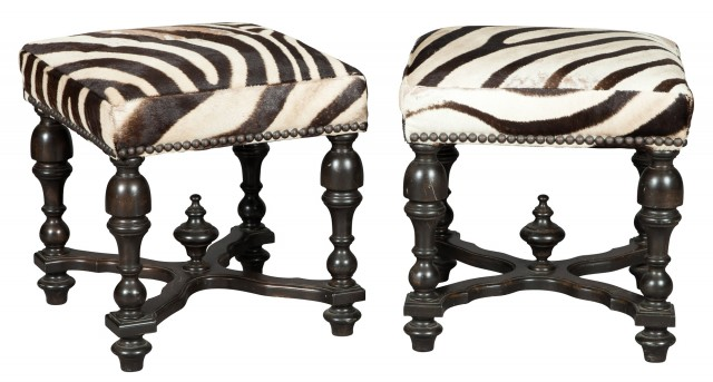 Pair of Zebra Skin-Covered Ebonized Stools