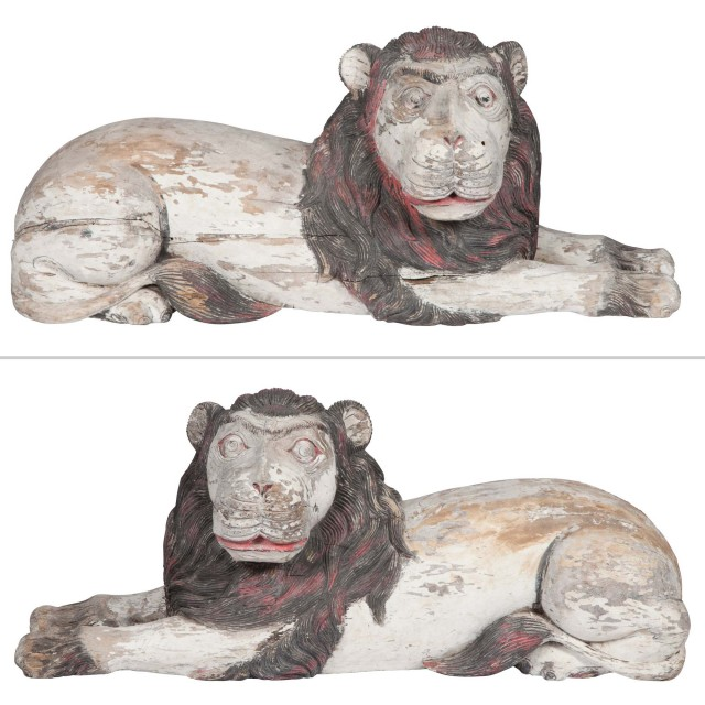Pair of Southeast Asian Style Painted and Carved Wood Lions
