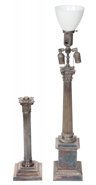 Victorian Silver-Plated Columnar Lamp; Together with a Silver-Plated Columnar Lamp