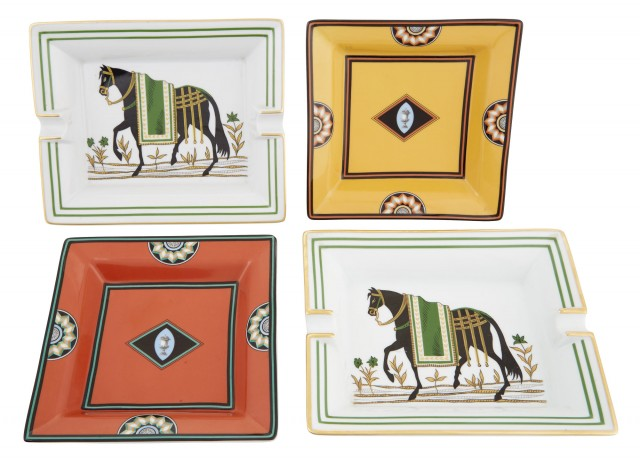 Group of Four Hermès and Limoges for Puiforcat Porcelain Ashtrays