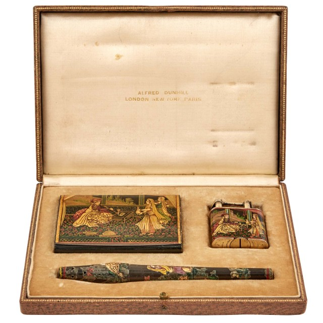 Alfred Dunhill Enamel Decorated Sterling Silver and Lacquered Wood Three-Piece Orientalist Smoking Set