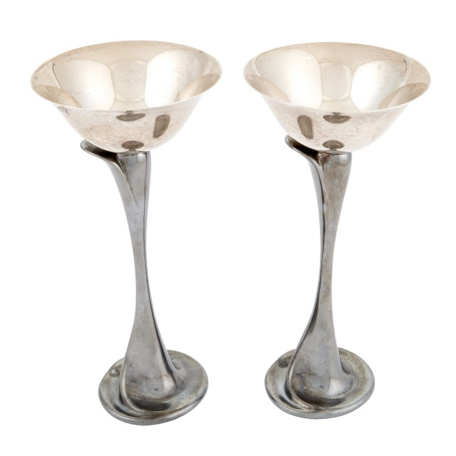 Pair of Elsa Peretti for Tiffany & Co. Two-Tone Sterling Silver Flower-Form Martini Glasses