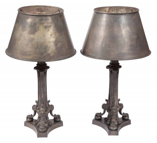 Pair of Louis XIV Style Silver-Plated Table Lamps