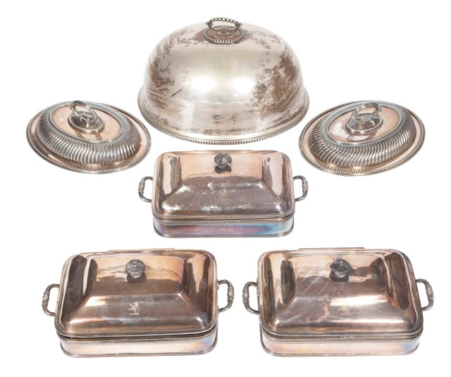 Three Silver-Plated Warming Dishes; Together with a Pair of Silver-Plated Covered Oval Vegetable Dishes and a Silver-Plated Meat Cover Dome