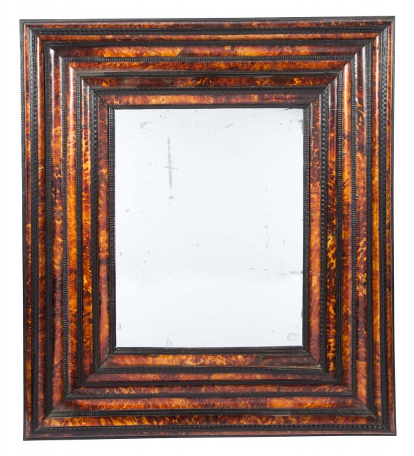 Flemish Baroque Style Ebonized Wood and Faux Tortoiseshell Mirror