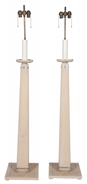 Pair of Limed Wood and Steel Floor Lamps