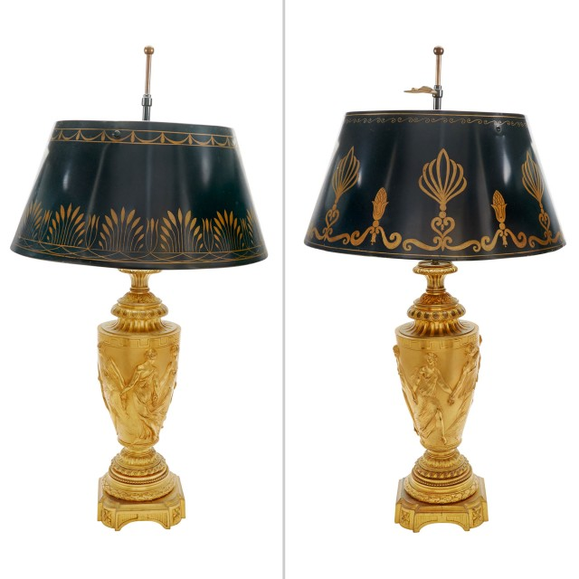 Pair of Second Empire Gilt-Bronze Urn-Form Lamps with Tole Shades