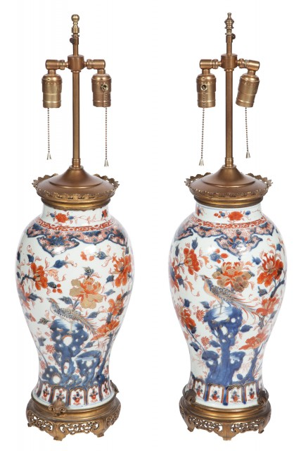 Pair of Japanese Gilt-Metal Mounted Imari Porcelain Lamps