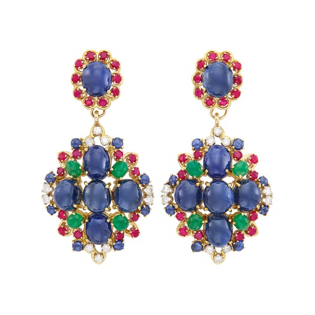 Pair of Gold, Cabochon Sapphire and Multicolored and Diamond Pendant-Earclips