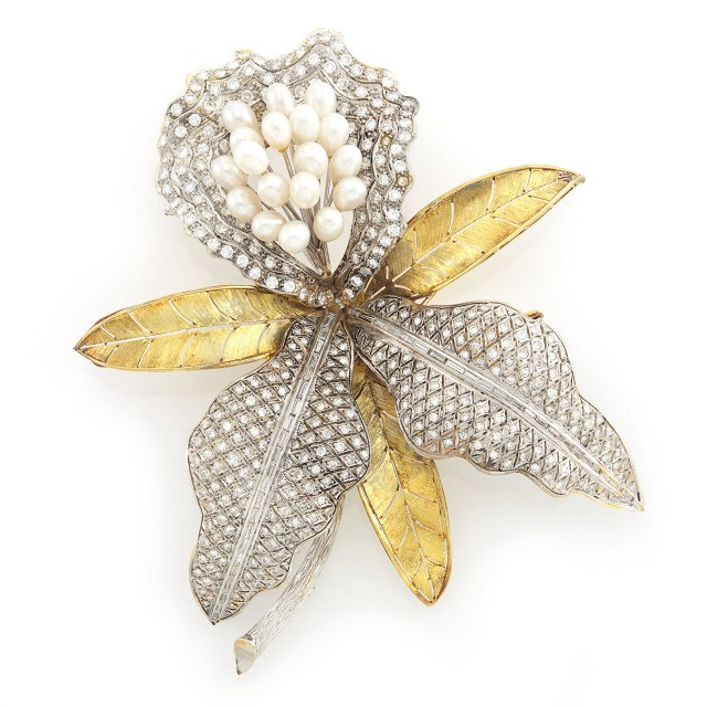 Oversized Two-Color Gold, Freshwater Pearl and Diamond Orchid Clip-Brooch