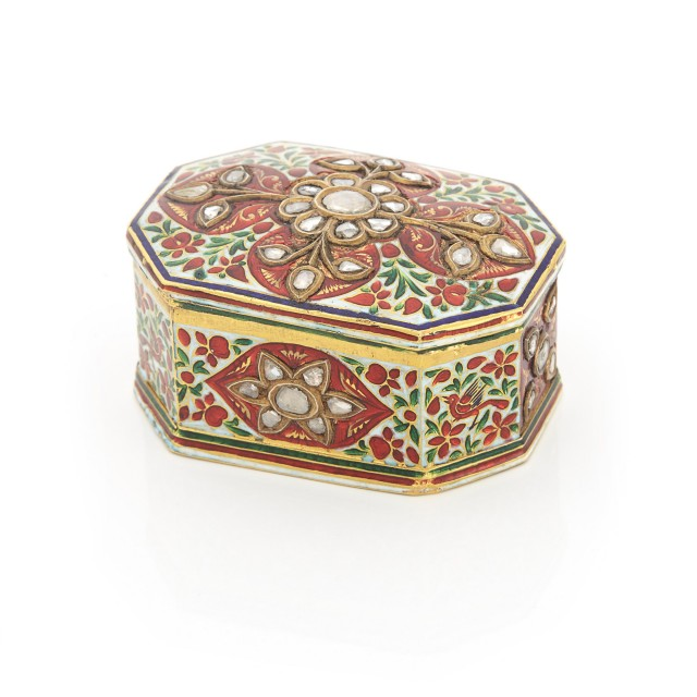 Indian High Karat Gold, Enamel and Foil-Backed Diamond Pill Box